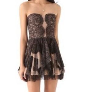 NWOT  BCBGMaxAzria corset mini strapless dress